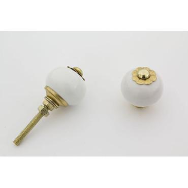 Lille hvid rund håndmalet porcelænsknop med guld top