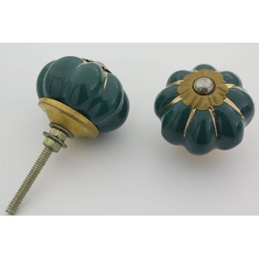 Grøn håndmalet porcelænsknop med guld i riller