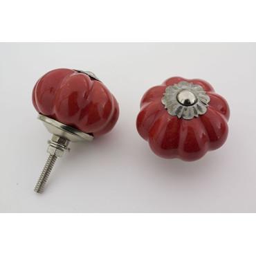 Almue rød håndmalet porcelænsknop med sølv top