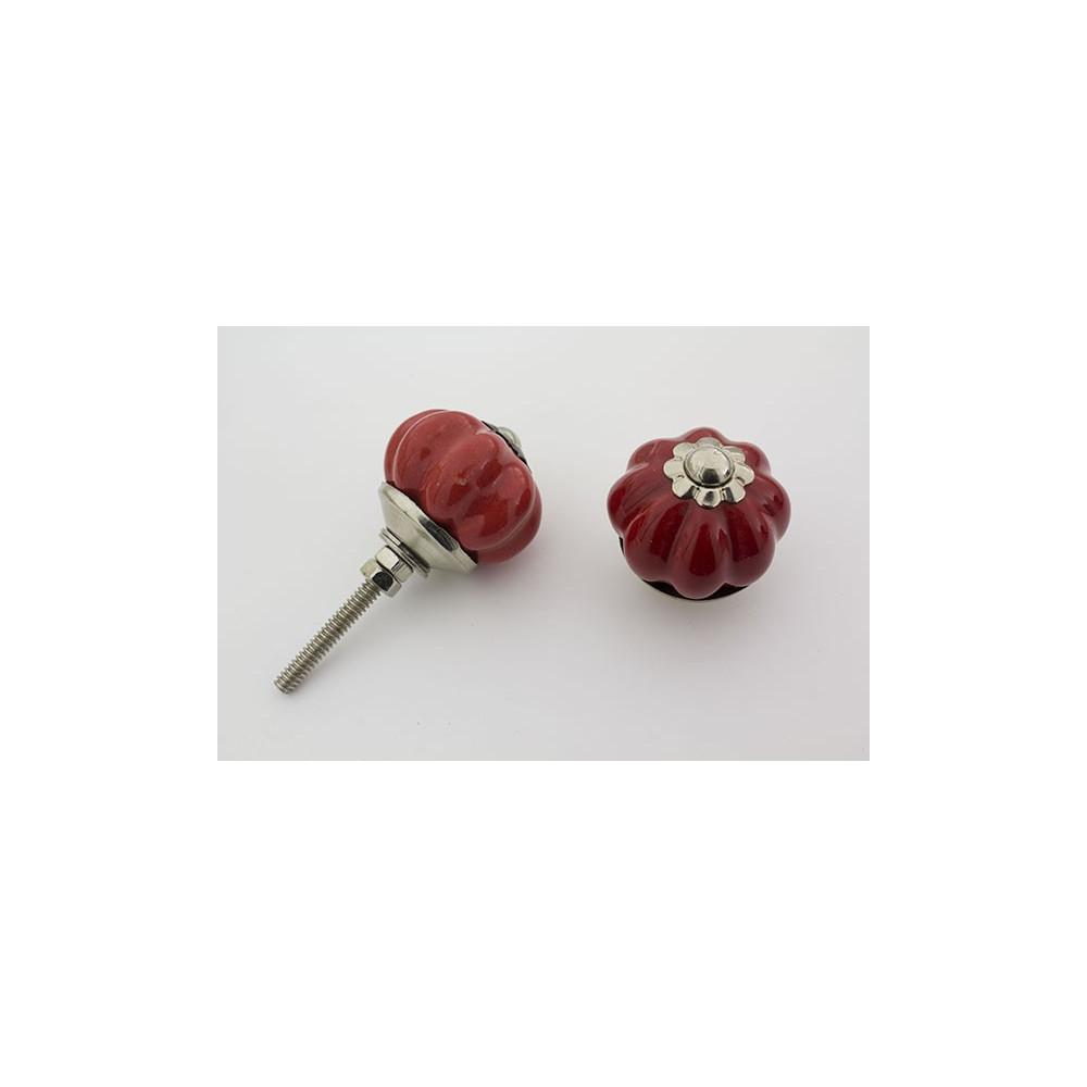 Lille almue rød håndmalet porcelænsknop med sølv top