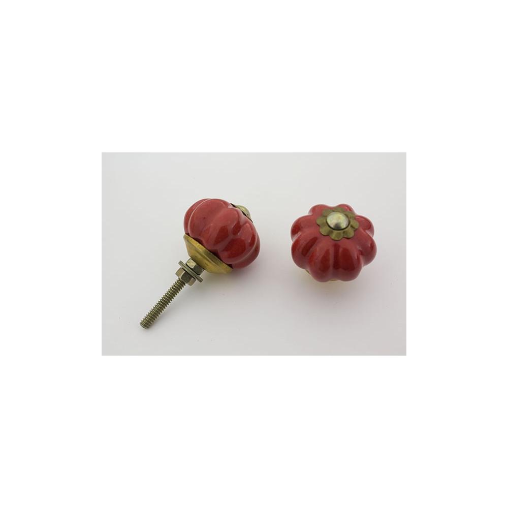 Lille almue rød håndmalet porcelænsknop med guld top