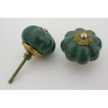 Almue grøn håndmalet porcelænsknop med guld top