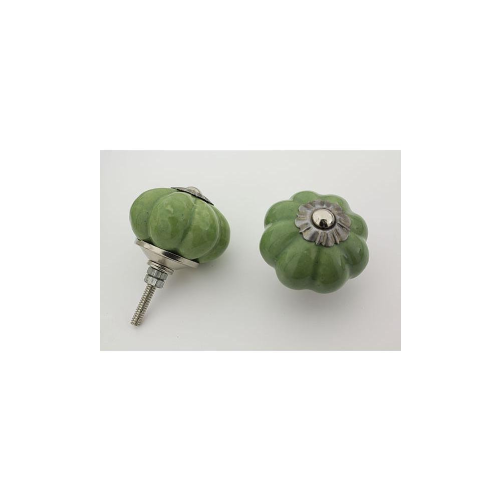 Lys almue grøn håndlavet porcelænsknop