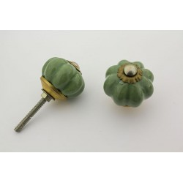 Lille lys almue grøn håndlavet porcelænsknop med guld top